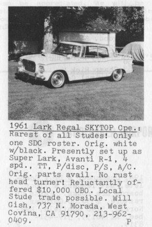 Mysteries - '61 Lark Regal from TW Nov 1982 ad