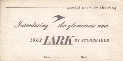 1962 Lark Introduction Preview Invitation Card