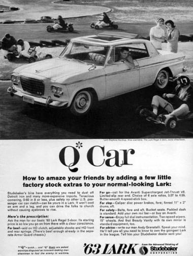 '63 Daytona 'Q-car' ad with photoshopped Skytop